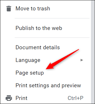 Click Page Setup in the drop-down menu.