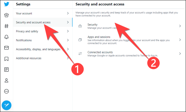 """In Settings, click """"Security and account access."""" then """"Security."""""""