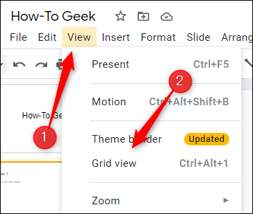 Click View and then select Grid View.
