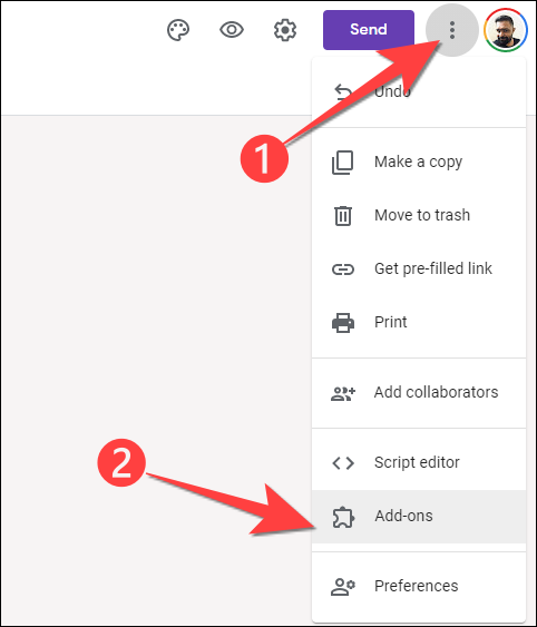 """Click the three-dots menu in the top-right-corner and select """"Add-ons"""" from the drop-down"""