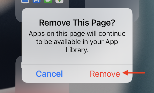 """In the popup, tap the """"Remove"""" button to confirm."""