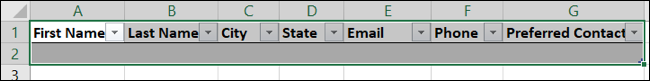 Table in Excel