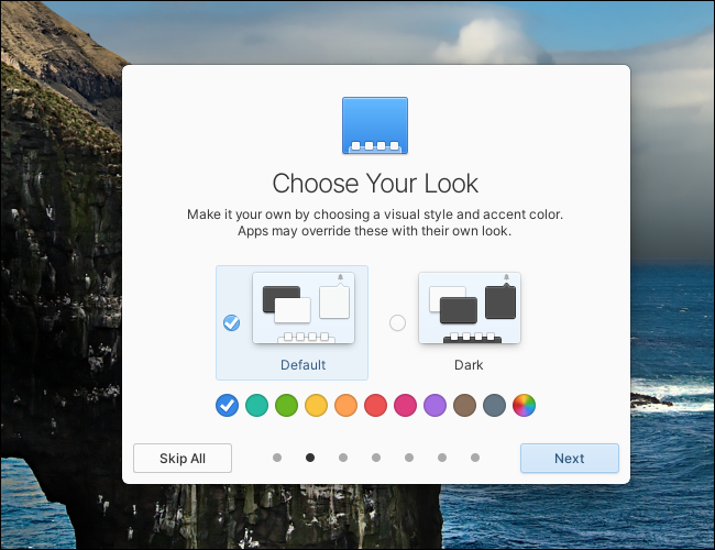 The Dark Mode and Default Mode option window in Elementary OS 6.