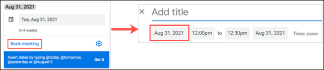 Click Book Meeting to schedule an event in Google Calendar