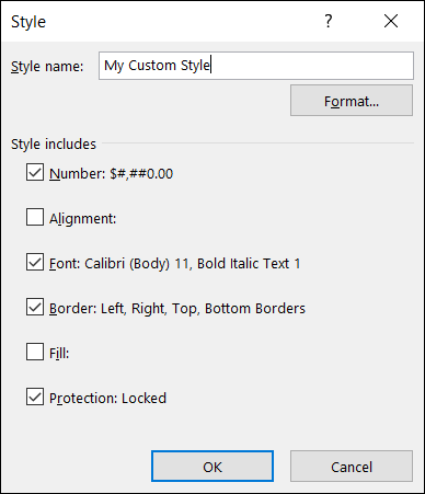 Edited custom cell style in Excel