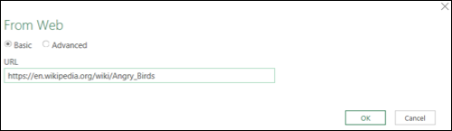 Enter the URL for your data source