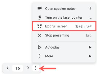 Click Options, then Exit Full Screen
