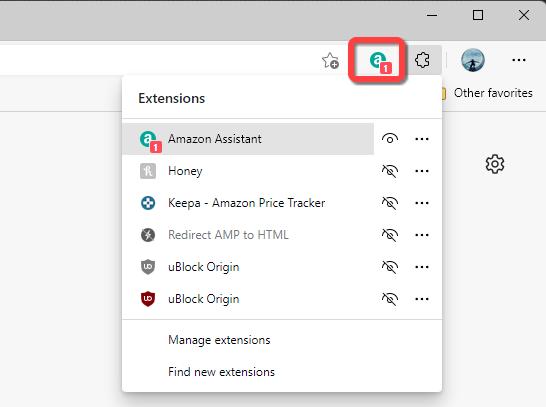 Extensão exibida na barra de ferramentas do Microsoft Edge.