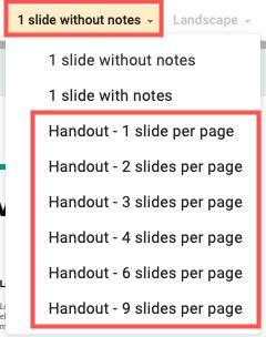 Scegli il numero di diapositive per pagina per le dispense in Presentazioni Google