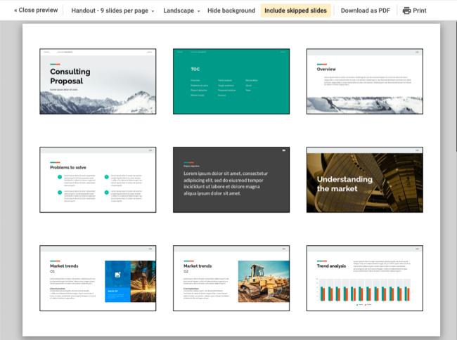 Dispense in Presentazioni Google con nove diapositive per pagina