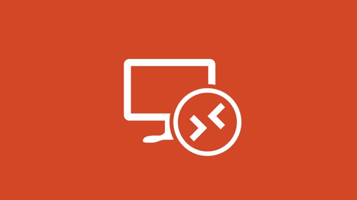 Um logotipo do aplicativo Remote Desktop da Microsoft em um fundo laranja.