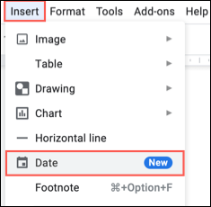 In the top menu, click Insert followed by Date