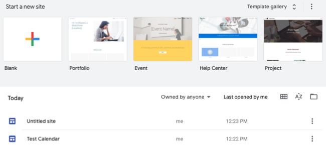 Google Sites main screen