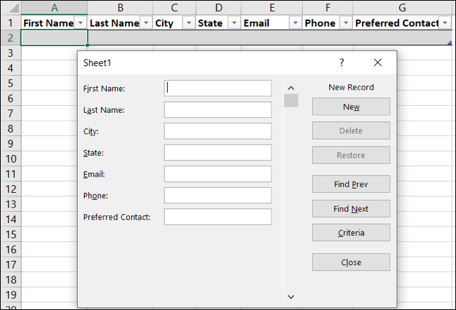 Open the data entry form in Excel