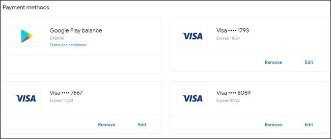 Viewing your payment methods in the Google Pay menu