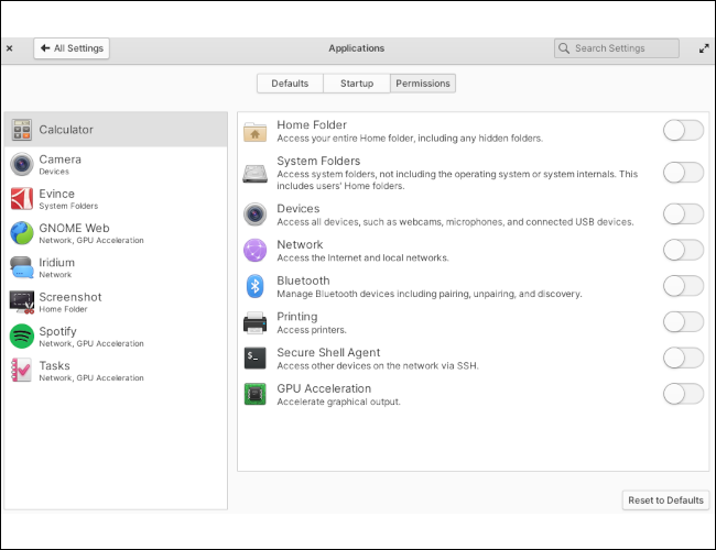 Elementary OS' settings app displaying the app permissions section.