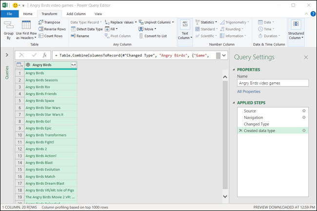 Power Query Editor with created data type