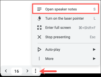 Click Options, then Open Speaker Notes