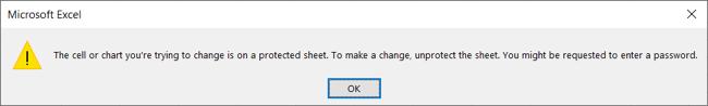 Erro de planilha protegida no Excel