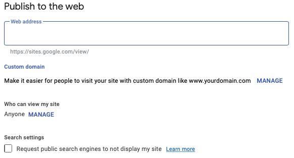 Google Sites yayınlama seçenekleri