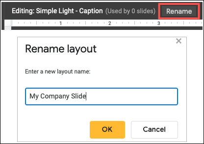 Rename the layout for your template slide