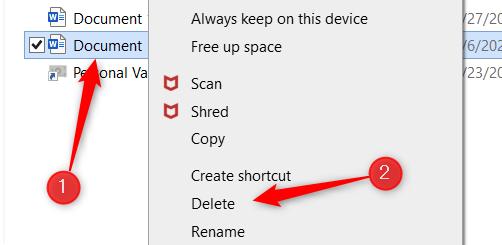 Right-click the file and then click Delete.