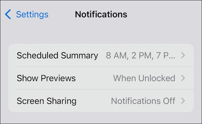 Scheduled Summary options for Notifications
