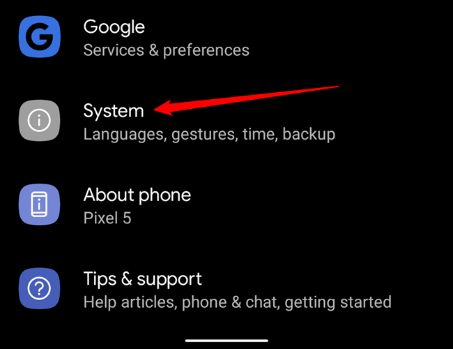 The System option in Android's Settings menu