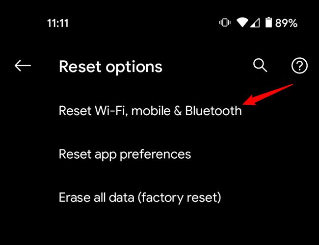 The reset options menu