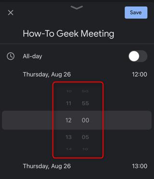 Scorri la rotellina per impostare l'ora della riunione.