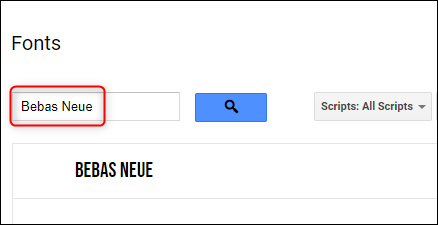 Search for a font using the Search box.
