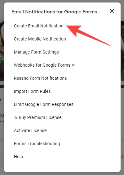 """Select """"Create Email Notification"""" from the floating window pop up."""