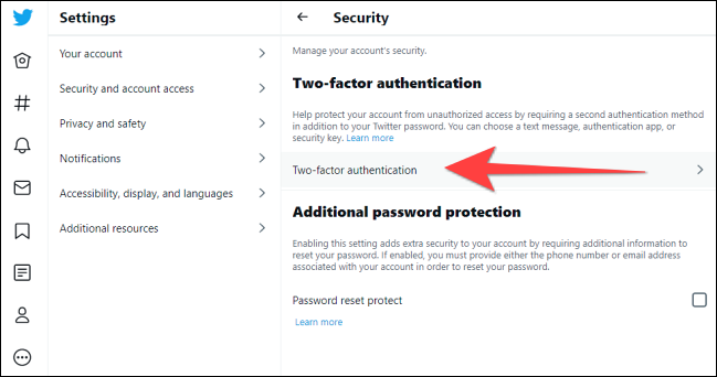 """Click """"Two-factor authentication"""" under """"Security"""" section."""