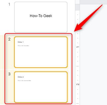 Select multiple slides in Google Slides.