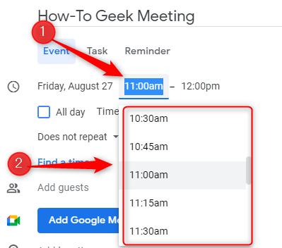 Seleziona l'orario dell'incontro