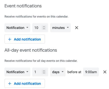 Google Takvim bildirim ayarları
