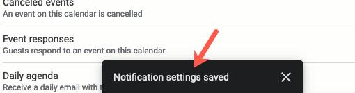 Google Takvim ayarları kaydedildi