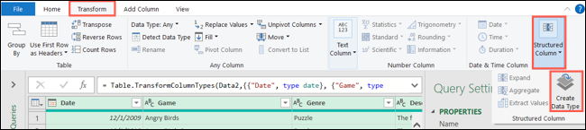 On the Transform tab, click Structured Column, Create Data Type