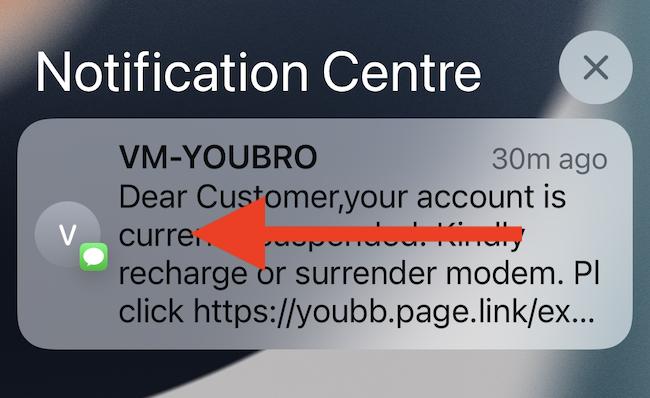 Swipe left on the notification.
