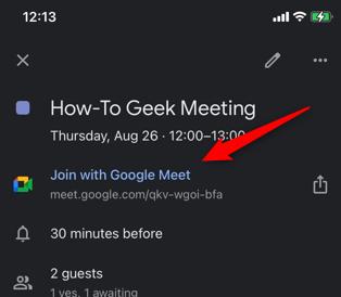 Tocca il collegamento Partecipa con Google Meet.