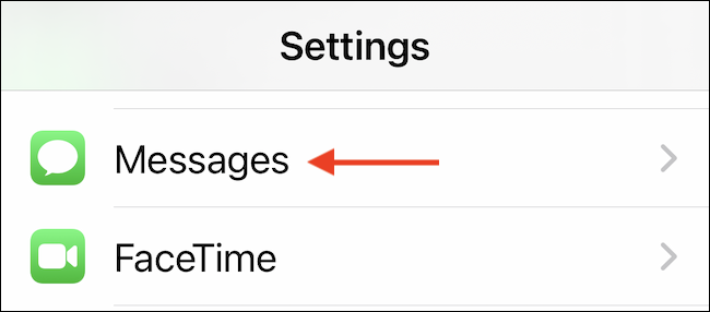 """Select the """"Messages"""" section in Settings app."""