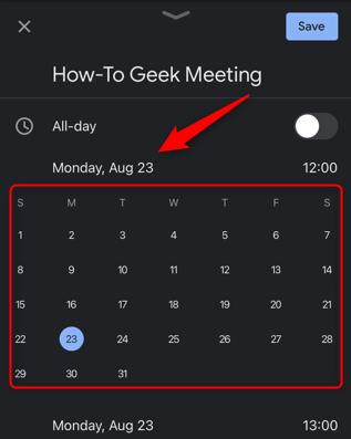 Tocca la data e seleziona una nuova data per il tuo evento.
