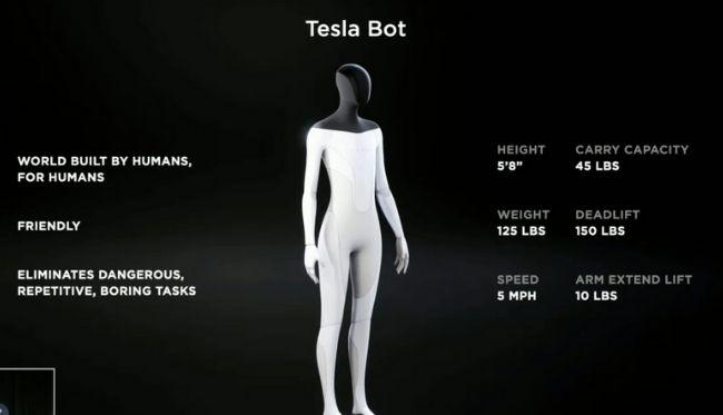 Especificações do Tesla Bot