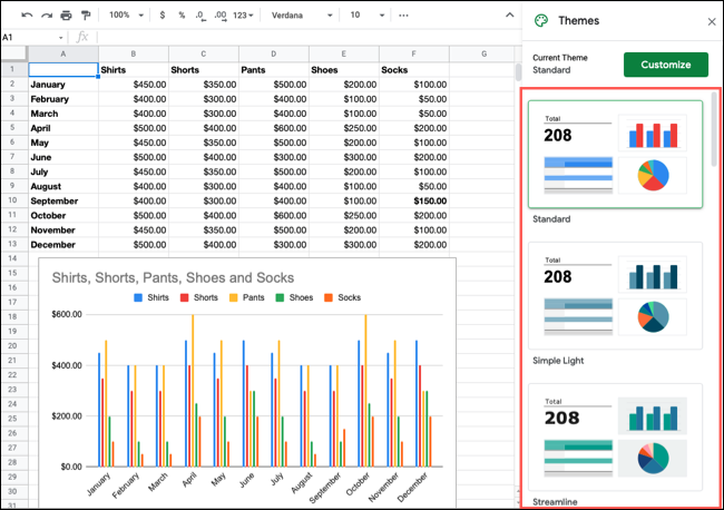 Themes sidebar in Google Sheets