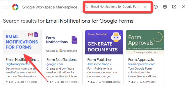 """Type """"Email Notifications for Forms"""" and press Enter."""
