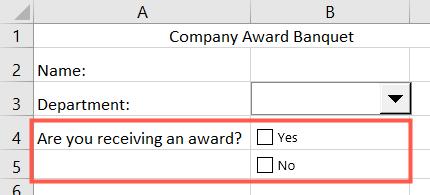 Caixas de seleção no Excel
