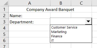 Caixa de combinação no Excel