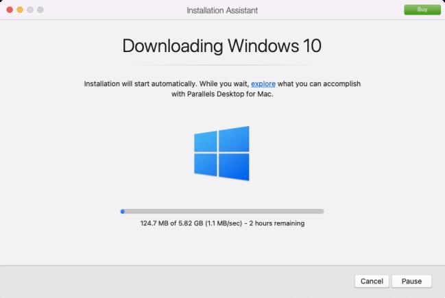 Installation Wizard downloading Windows 10 from Microsoft servers.