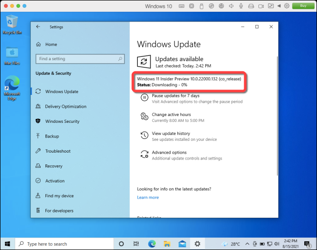Windows 11 build downloading.