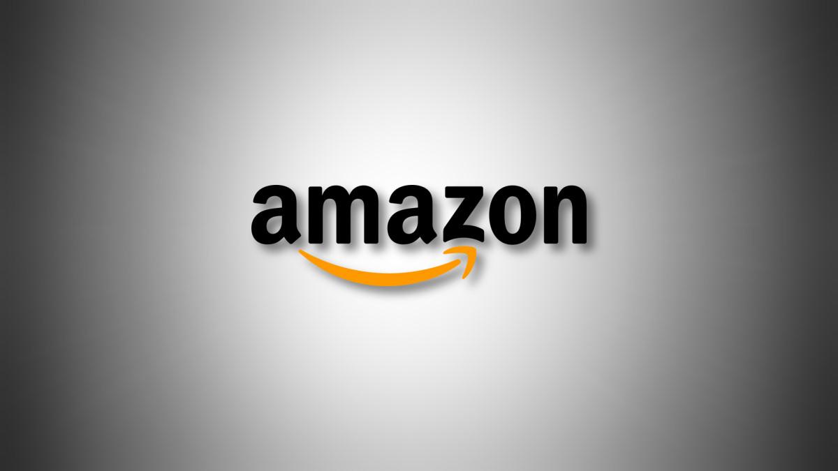 Amazon logo on a grey gradient